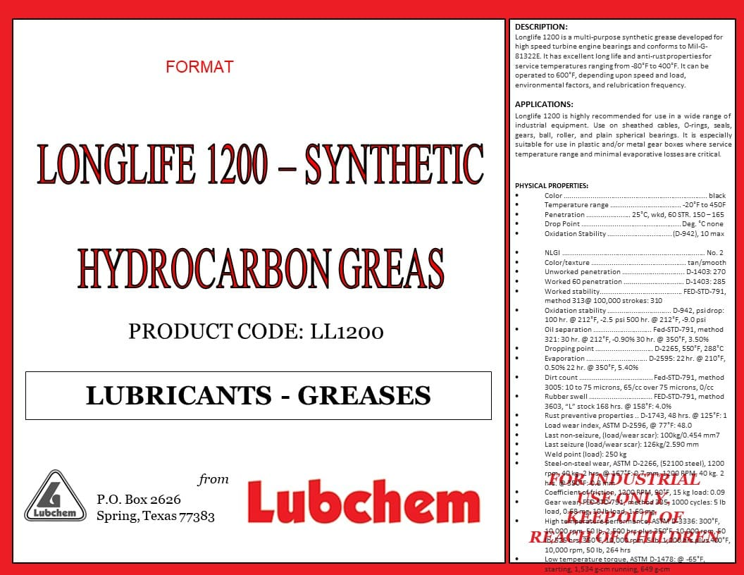 longlife 1200-synthetic hydrocarbon grease